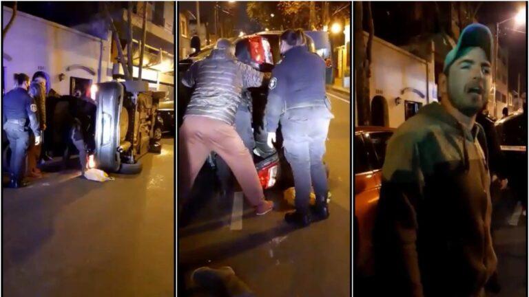 San Fernando: completamente borracho, volcó, casi genera una tragedia y se negaba a salir del auto