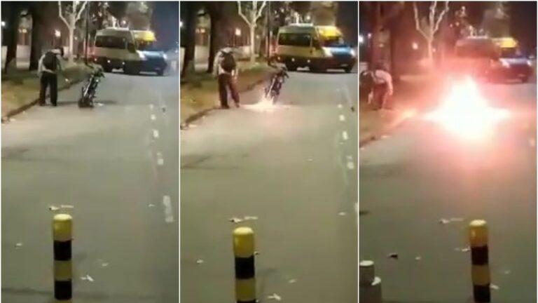 Villa Lugano: prendió fuego la moto cuando se la quisieron retener en un control vehicular