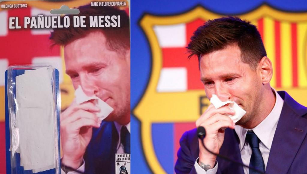 En Florencio Varela ya venden el pañuelo de Messi.