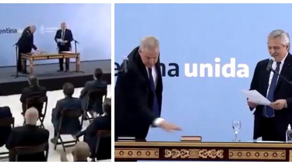 El llamativo gesto que el nuevo ministro de Educación, Jaime Perczyk, hizo con la Biblia antes de jurar
