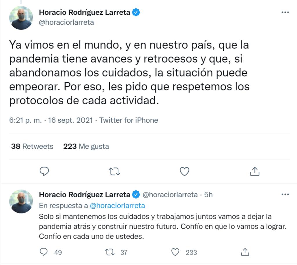 Rodríguez Larreta también uso su cuenta de Twitter para comunicar las nuevas medidas.