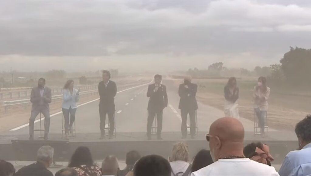 Autopista Presidente Perón Inauguración Axel Kicillof Viento