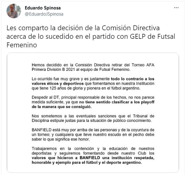 Escándalo en el futsal femenino: Banfield tomó una drástica decisión con su equipo tramposo