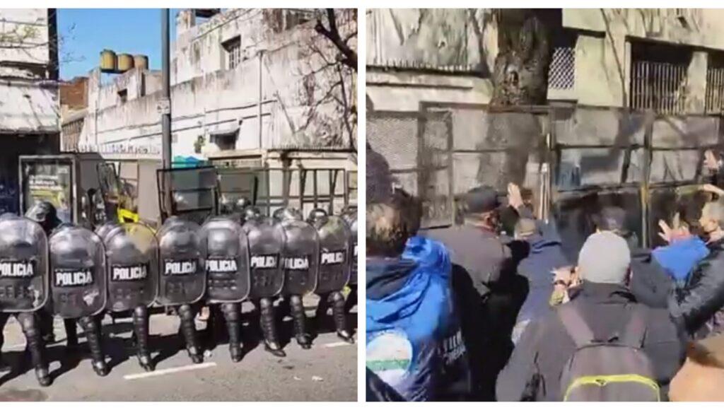Un enorme operativo, gases y piedras junto a una escuela: una pelea de lecheros y caos en Boedo