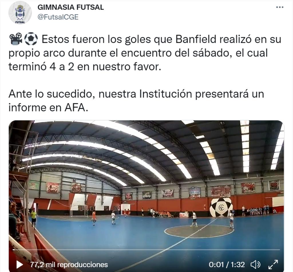 El repudio de Gimnasia y Esgrima de La Plata en su cuenta de Twitter.
