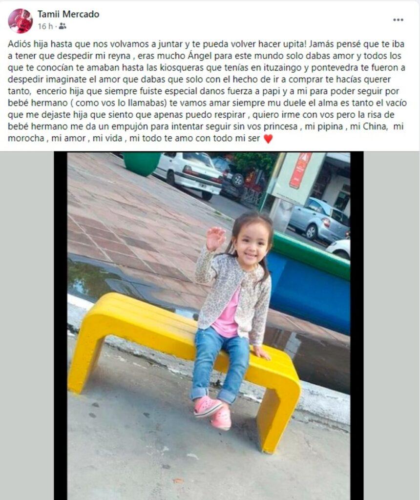 Tragedia del Acceso Oeste: así despidió la mamá a la nena de tres años que murió con sus abuelos