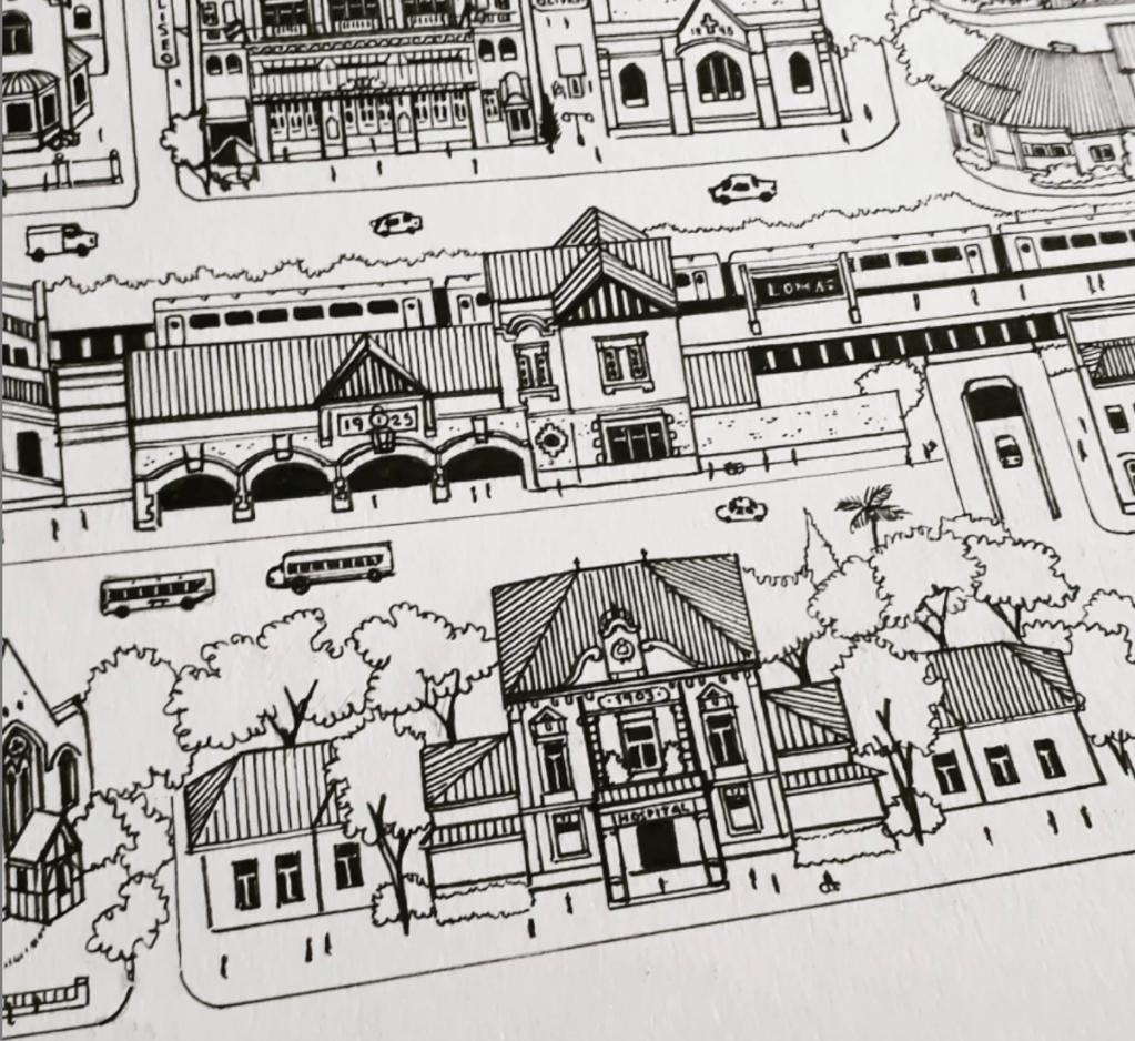 El Hospital Gandulfo también fue dibujado por el vecino de Banfield.