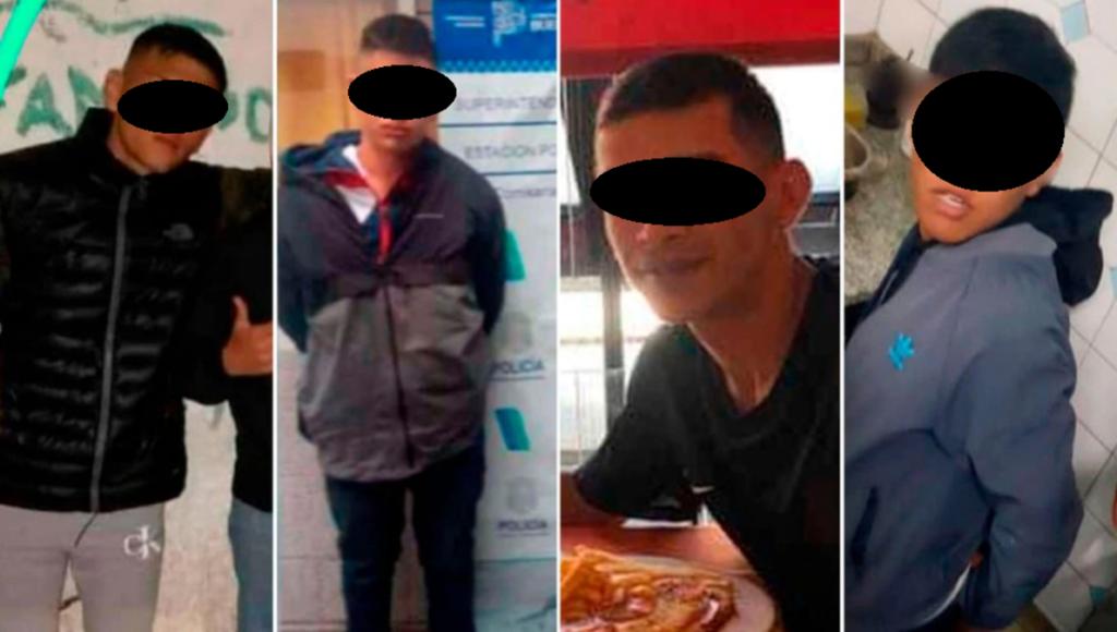 Los cuatro detenidos por el crimen de Caseros. Uno tiene 24 años y de los otros no trascendieron las edades.