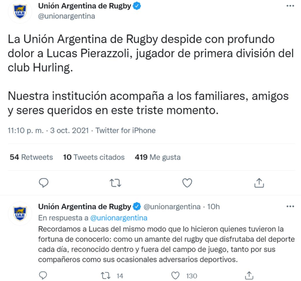 El posteo realizado en Twitter por la Unión Argentina de Rugby.